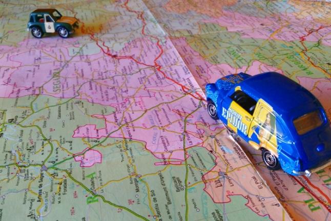 Mapa con coches ruta